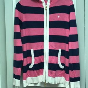 "Lilly Pulitzer ""classic "" striped hooded cardigan"